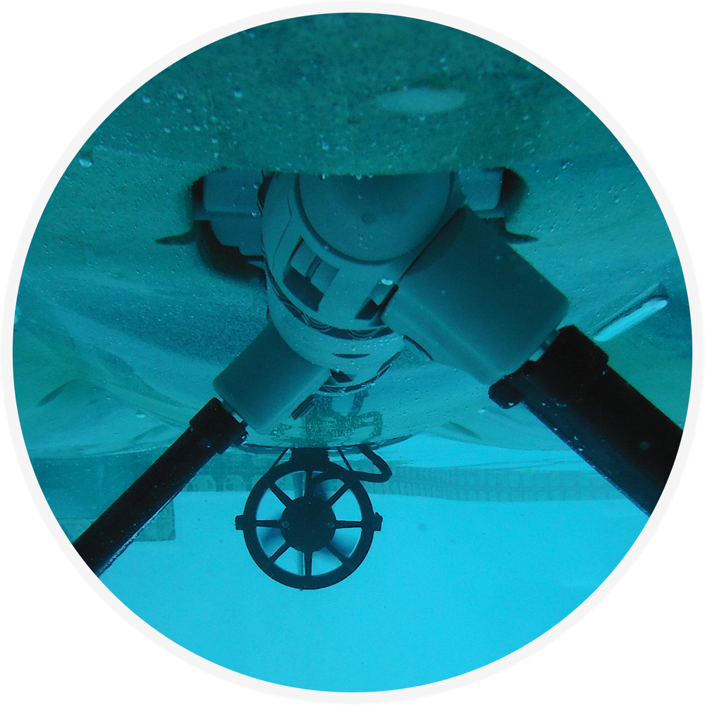 Electric propulsion system as seen from underwater